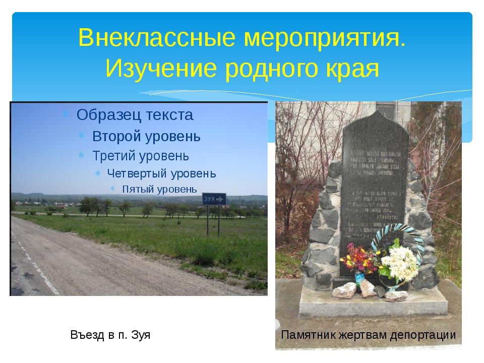 Внеклассные мероприятия. Изучение родного края Въезд в п. Зуя Памятник жертва...