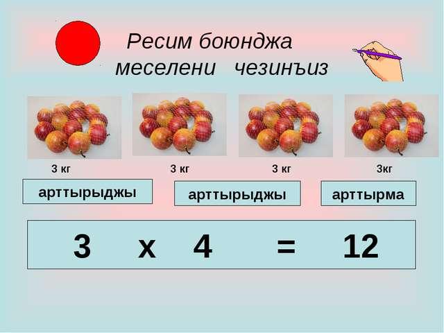 Ресим боюнджа меселени чезинъиз 3 x 4 = 12 арттырма арттырыджы арттырыджы 3...