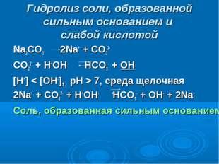 Гидролиз соли, образованной сильным основанием и слабой кислотой Na2CO3 2Na+