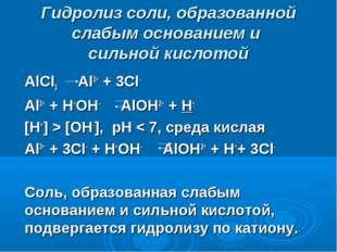 Гидролиз соли, образованной слабым основанием и сильной кислотой AlCl3 Al3+ +