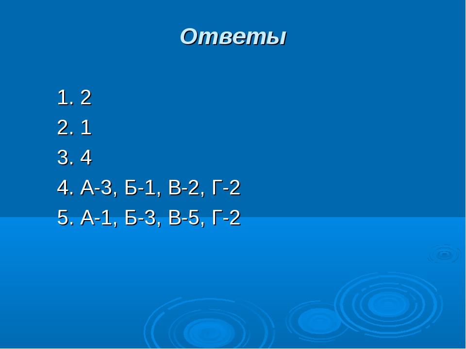 Ответы 1. 2 2. 1 3. 4 4. А-3, Б-1, В-2, Г-2 5. А-1, Б-3, В-5, Г-2