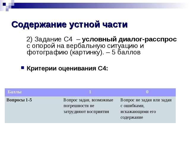 Содержание устной части 2) Задание С4 – условный диалог-расспрос с опорой на...