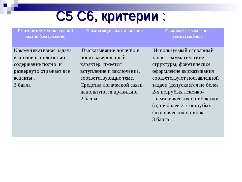 С5 С6, критерии :