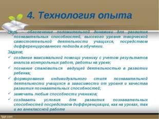 4. Технология опыта Цель – обеспечение положительной динамики для развития по