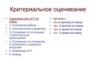 Критериальное оценивание Характеристика ЭГП по плану: 1. Положение района. 2.