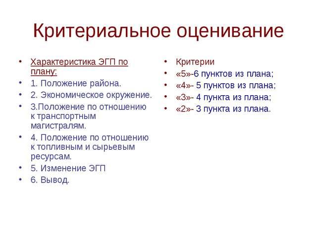 Критериальное оценивание Характеристика ЭГП по плану: 1. Положение района. 2....