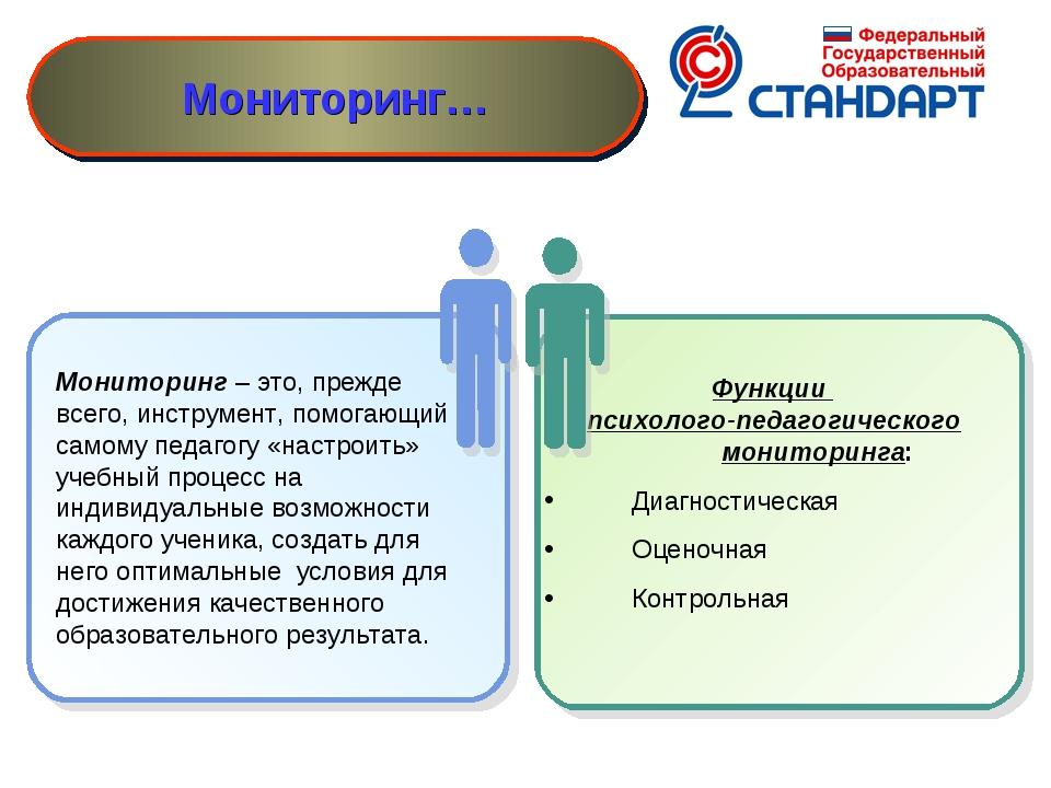 Мониторинг – это, прежде всего, инструмент, помогающий самому педагогу «наст...
