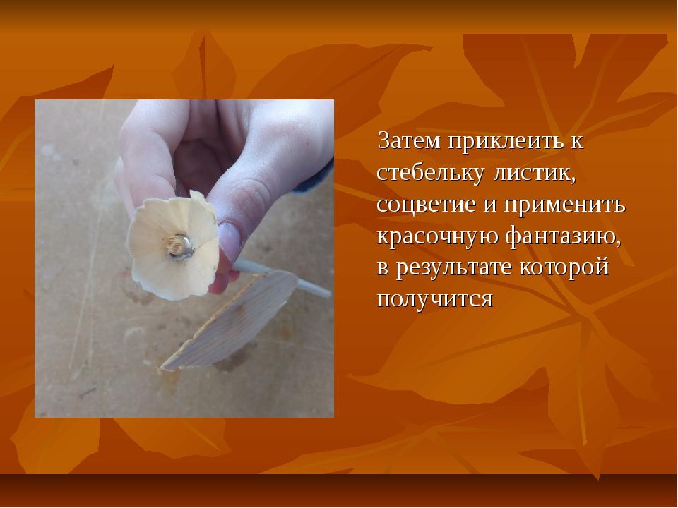 Затем приклеить к стебельку листик, соцветие и применить красочную фантазию,...