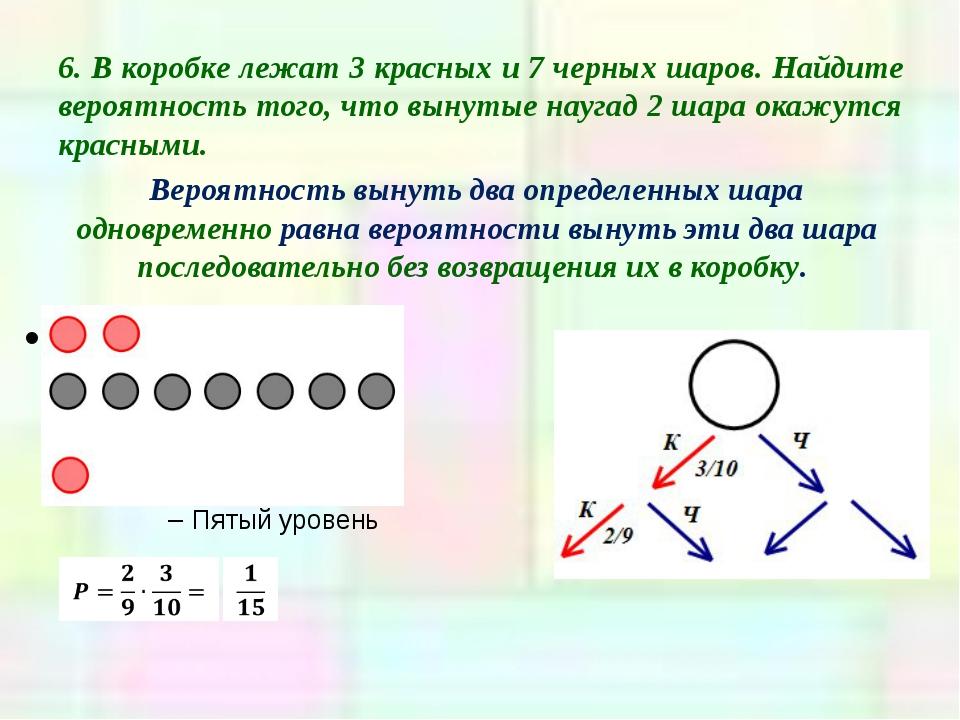 6. В коробке лежат 3 красных и 7 черных шаров. Найдите вероятность того, что...