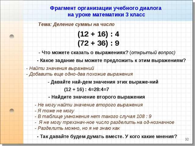 * Фрагмент организации учебного диалога на уроке математики 3 класс (12 + 16)...