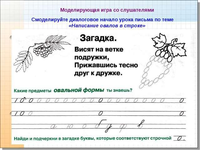 * Моделирующая игра со слушателями Смоделируйте диалоговое начало урока письм...