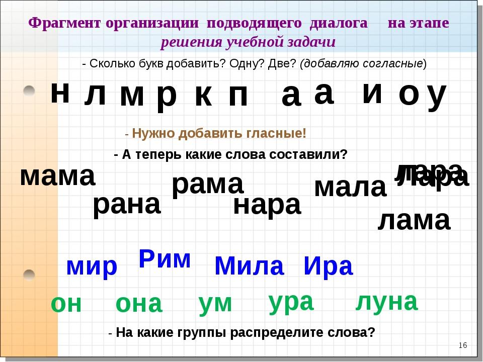 * Фрагмент организации подводящего диалога на этапе решения учебной задачи -...