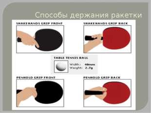 Способы держания ракетки