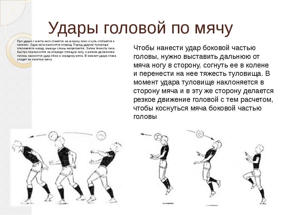Удары головой по мячу При ударе с места ноги ставятся на ширину плеч и чуть с...