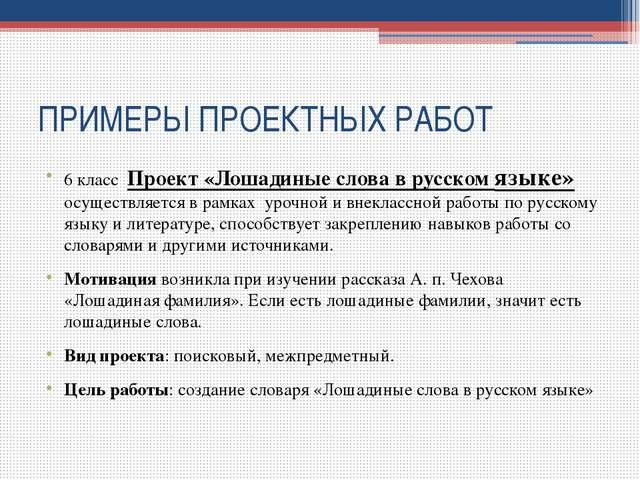 ПРИМЕРЫ ПРОЕКТНЫХ РАБОТ 6 класс Проект «Лошадиные слова в русском языке» осущ...