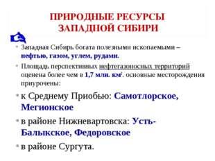 ПРИРОДНЫЕ РЕСУРСЫ ЗАПАДНОЙ СИБИРИ Западная Сибирь богата полезными ископаемым
