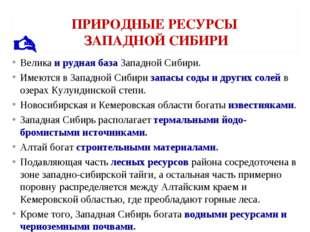 ПРИРОДНЫЕ РЕСУРСЫ ЗАПАДНОЙ СИБИРИ Велика и рудная база Западной Сибири. Имеют