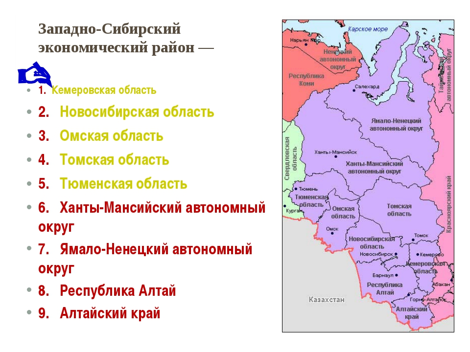 Западно-Сибирский экономический район— 1.Кемеровская область 2.Новосиб...