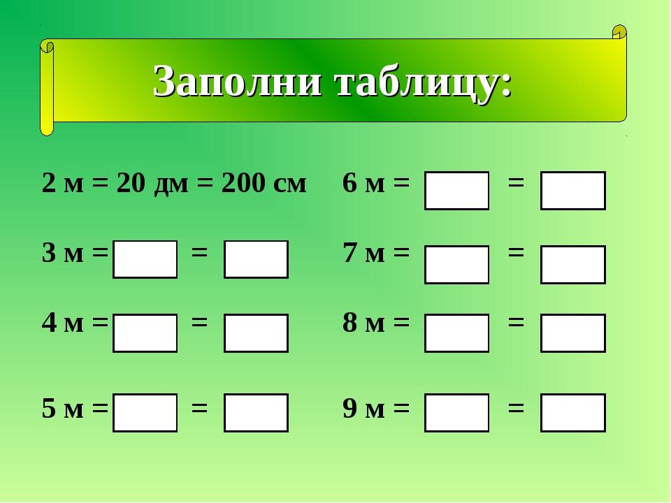 Заполни таблицу: 2 м = 20 дм = 200 см6 м = = 3 м = = 7 м = = 4 м = = 8 м =...