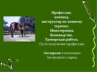 Профессии: коневод, инструктор по конному туризму. Иппотерапия. Коневодство.