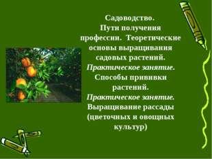 Садоводство. Пути получения профессии. Теоретические основы выращивания садов