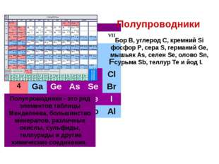 Бор B, углерод C, кремний Si фосфор Р, сера S, германий Ge, мышьяк As, селен