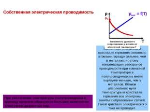 Т ρ ρ0 • При повышении температуры некоторая часть валентных электронов может