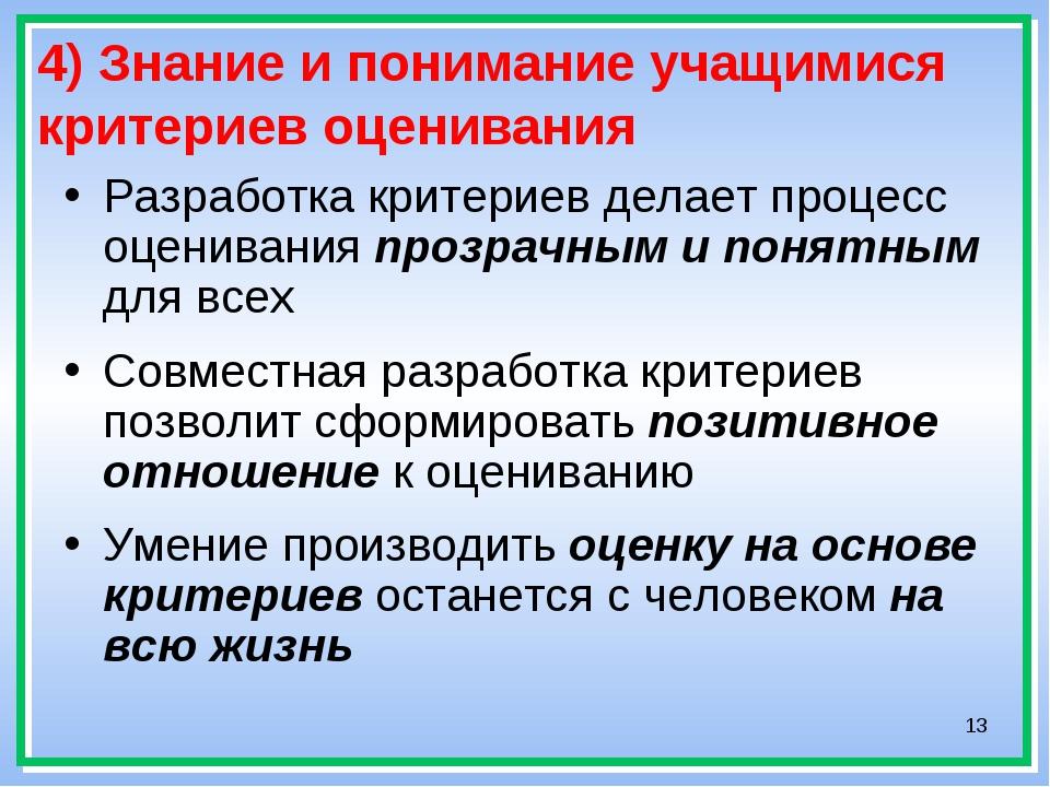 * 4) Знание и понимание учащимися критериев оценивания Разработка критериев д...