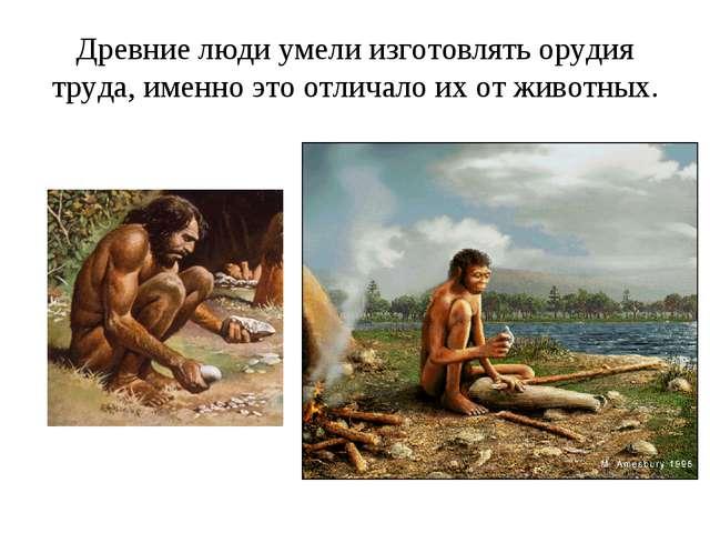 Древние люди умели изготовлять орудия труда, именно это отличало их от животн...