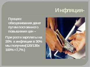 Инфляция- Процесс обесценивания денег путем постоянного повышения цен – При р