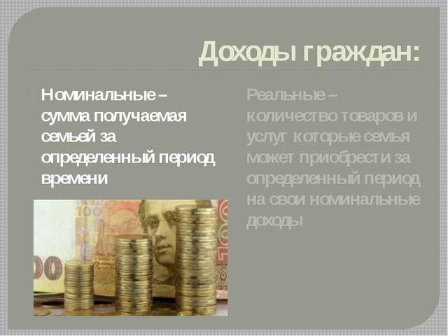 Доходы граждан: Номинальные – сумма получаемая семьей за определенный период...