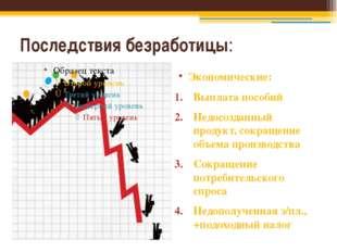 Последствия безработицы: Экономические: Выплата пособий Недосозданный продукт