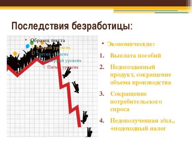 Последствия безработицы: Экономические: Выплата пособий Недосозданный продукт...