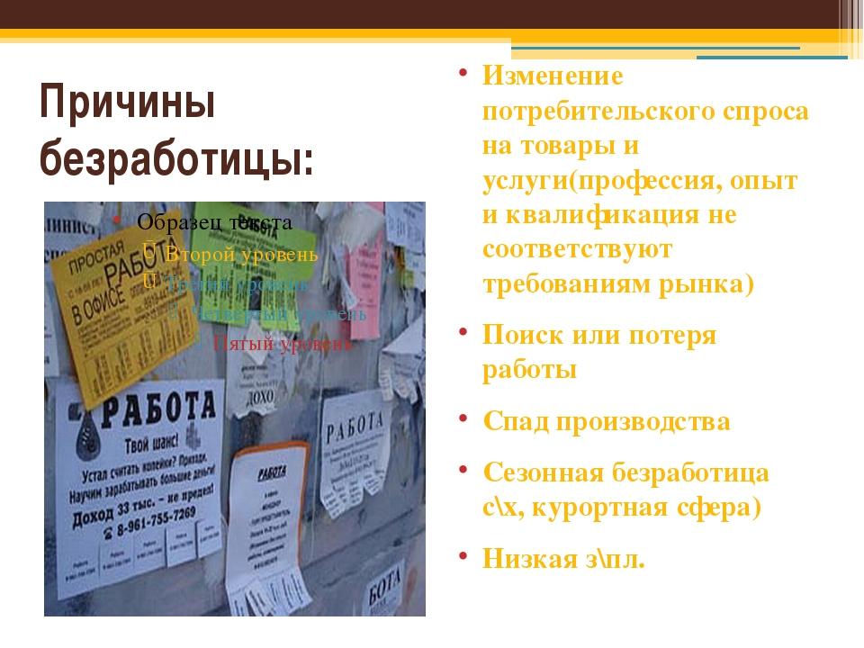 Причины безработицы: Изменение потребительского спроса на товары и услуги(про...