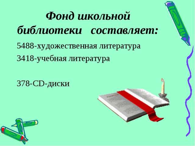 Фонд школьной библиотеки составляет: 5488-художественная литература 3418-учеб...