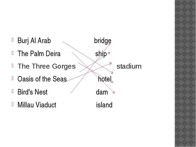 Burj Al Arab bridge The Palm Deira ship The Three Gorges stadium Oasis of th...