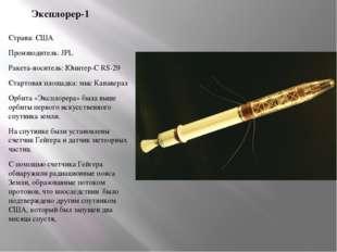Эксплорер-1 Страна: США Производитель: JPL Ракета-носитель: Юпитер-С RS-29 Ст
