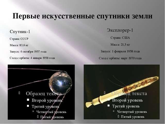 Первые искусственные спутники земли Спутник-1 Страна: СССР Масса: 83,6 кг Зап...