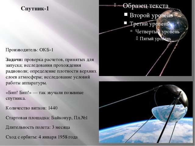 Спутник-1 Производитель: ОКБ-1 Задачи: проверка расчетов, принятых для запуск...