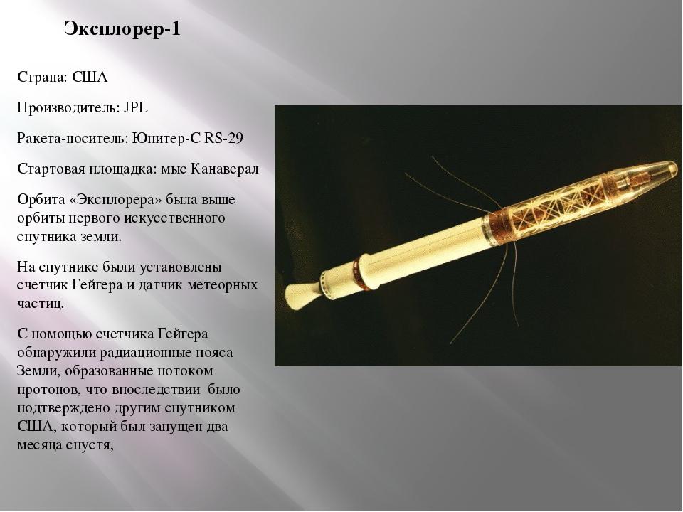 Эксплорер-1 Страна: США Производитель: JPL Ракета-носитель: Юпитер-С RS-29 Ст...