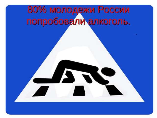 80% молодежи России попробовали алкоголь.