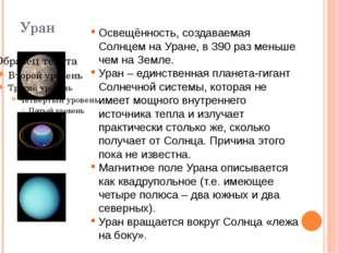 Уран Освещённость, создаваемая Солнцем на Уране, в 390 раз меньше чем на Земл