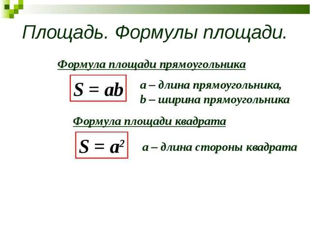 Площадь. Формулы площади. S = ab Формула площади прямоугольника Формула площа...