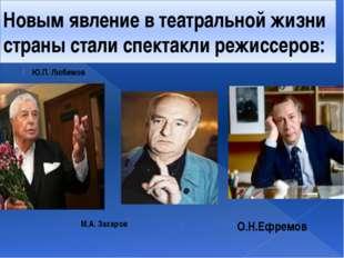 Новым явление в театральной жизни страны стали спектакли режиссеров: Ю.П. Люб