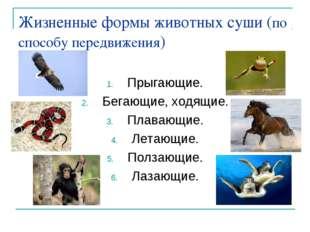 Жизненные формы животных суши (по способу передвижения) Прыгающие. Бегающие,