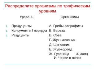Распределите организмы по трофическим уровням