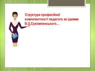 Структура професійної компетентності педагога за ідеями В.О.Сухомлинського…