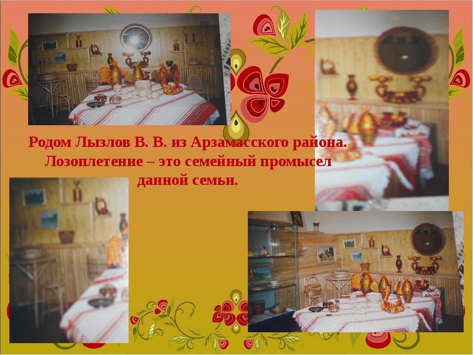 Родом Лызлов В. В. из Арзамасского района. Лозоплетение – это семейный промыс...