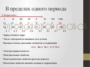 В пределах одного периода 1. Возрастают: I II III IV V VI VII VIII Li Be B C