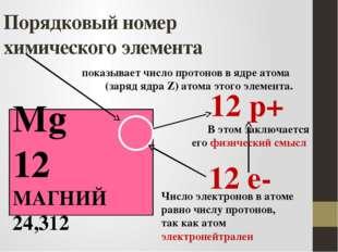 Порядковый номер химического элемента Mg 12 МАГНИЙ 24,312 12 р+ 12 е- показыв